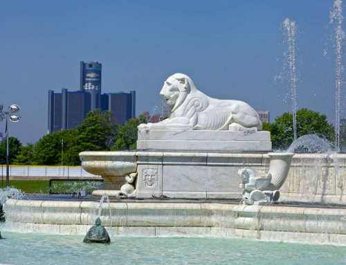 James Scott Memorial Fountain, 2014., Renaissance Center in distance.